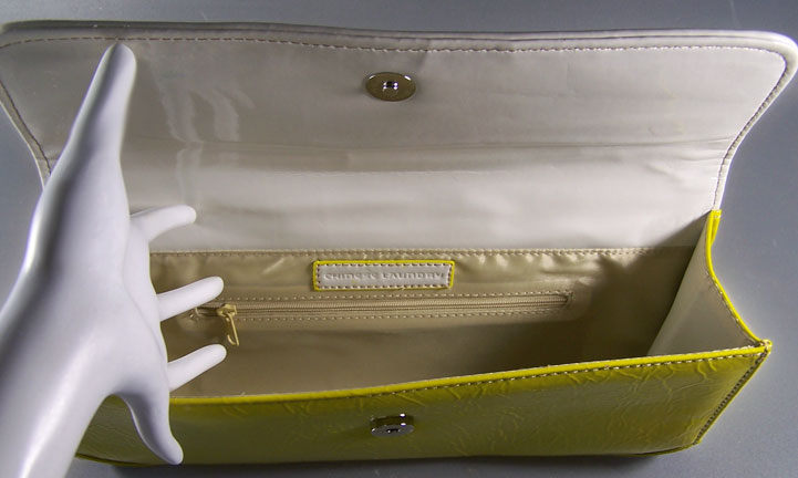 Unique Roomy 80 S Chinese Laundry Wet Look Bright Canary Yellow Clutch Trimmed With White Patent A Wide Belt Adorning The Flap